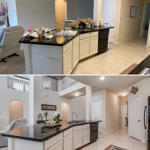 Before and after of kitchen, cleaned and organized kitchen for staging and selling home