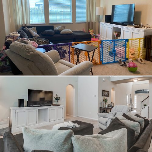 Before and after of living room, staging and selling home, organized living room
