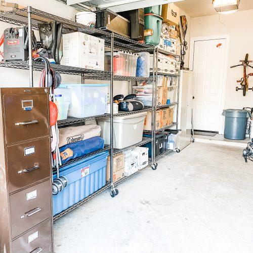 Clean organized garage shelves