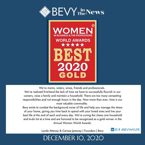 Bevy wins Women World Award Gold - Startup of the Year